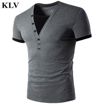 New Brand T shirt Men Tshirt Homme 2017 Mens Summer Fashion Slim Fit V Neck Henley Shirt Casual Short Sleeve Tee T-shirt  314