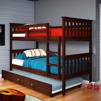 Elijah Cappuccino Bunkbed with Trundle