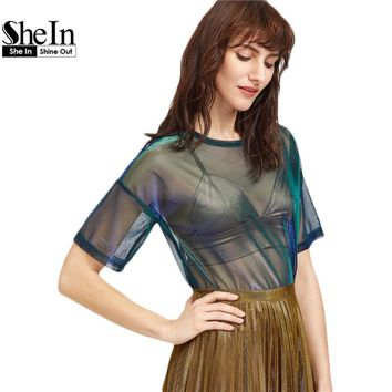 SheIn Women Casual Blouses Summer 2017 Sexy Ladies Tops Green Short Sleeve Drop Shoulder Iridescent Sheer Mesh Top
