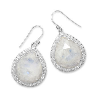 Rainbow Moonstone Drop Earrings with Cubic Zirconia Edge