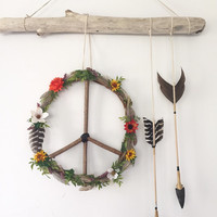 Wildflowers + Feathers Peace Wreath + Arrows' Wall Hanging