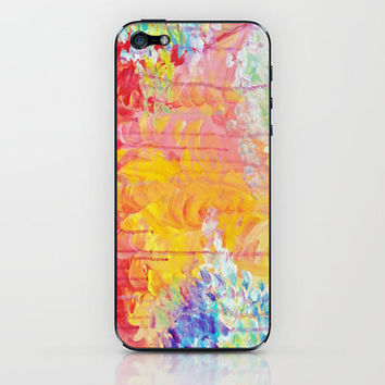 SUN SHOWERS - Beautiful Pastel Coloful Rain Clouds Bright Sky Abstract Acrylic Painting iPhone & iPod Skin by EbiEmporium | Society6