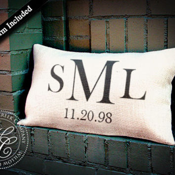 Personalized WEDDING Gift BURLAP PILLOW-  Pillow with Monogram & Established Date