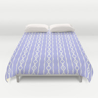 Purple And White Linked Print Duvet Cover by KCavender Designs