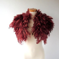 Felt Fur Curly Collar scarf Burgundy Dark Red Hand Felted Pure Real Wool Fleece by Galafilc Organic and Cruelty Free