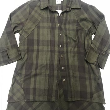 Plaid Tunic - Olive FINAL SALE. NO RETURNS. NO EXCHANGES.