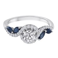 Helzberg Diamond Symphonies® 3/4 ct. tw. Diamond & Sapphire Engagement Ring in 14K Gold - Rings - Jewelry - Helzberg Diamonds