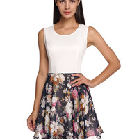 White Floral Print Sleeveless A-Line Chiffon Dress