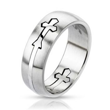 Cut Out Celtic Cross Center 316L Stainless Steel Dome Ring