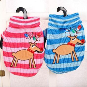 DCCKH6B Hot Sale Elk Pet Dog Sweater Autumn and Winter Striped Knit Dog Round Collar Sweater Blue&Pink Dog Cat Costume Free Shipping