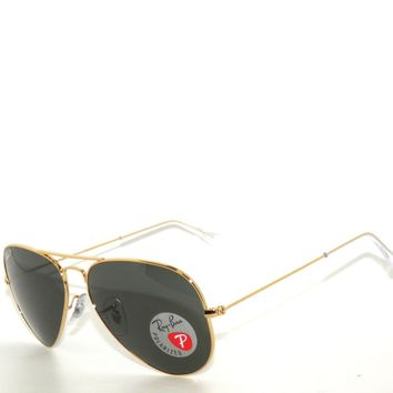 Cheap BEST DEAL*RAY BAN SunglaSSeS 3025 Rayban GOLD/GREEN POLARIZED 001/58 AVIATORS