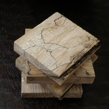 Spalted maple coaster set rustic cabin beach house bottle kitchen display country feel and beautiful wood