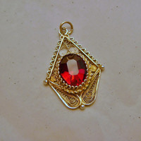 Vintage Garnet Pendant Blood Red Color Silver Filigree w Vermeil Italy 1940s