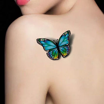 Colorful 3D Butterfly Temporary Tattoo Set