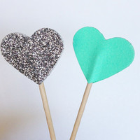 12 Silver Glitter + Aqua Heart Cupcake Toppers - Birthdays, Parties, Weddings, Decoration