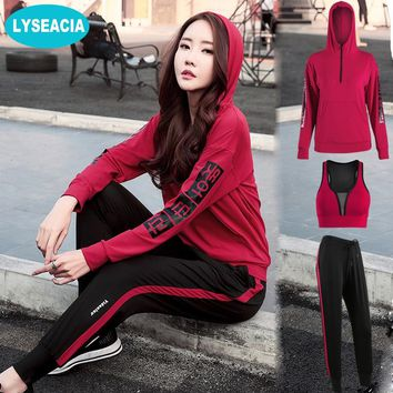 LYSEACIA M-4XL Fitness Sports Suit 3 IN1 Yoga Set For Running Gym Seamless Sport Bra Long Sleeve Hoodies Loose Sport Pants