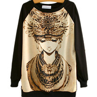 Black Princess Print Sweater