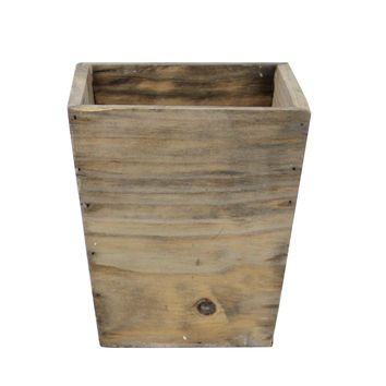 "6.5"" Country Rustic Natural Wood Storage Bin Container"
