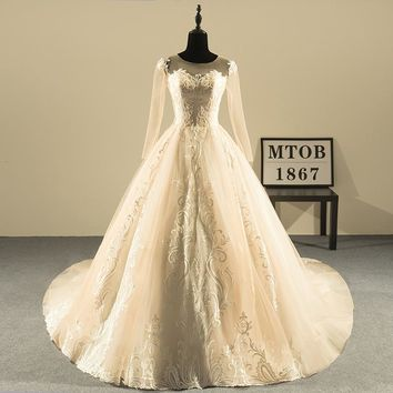 New Design Ball Gown Lace Wedding Dresses O-Neck Vintage Backless Sexy Champagne Wedding Gowns