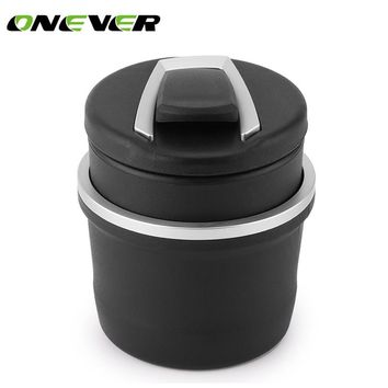 Car Cigarette Ashtray with Detachable Storange Box for Cup Holder Smokeless with Blue LED Light and Cover