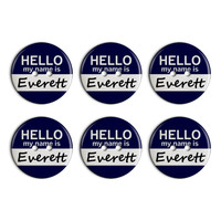 Everett Hello My Name Is Plastic Resin Button Set of 6