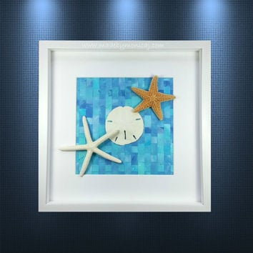 Seashell Shadow Box Beach Decor.  Woven Hand Painted Paper Background.  Starfish Art.