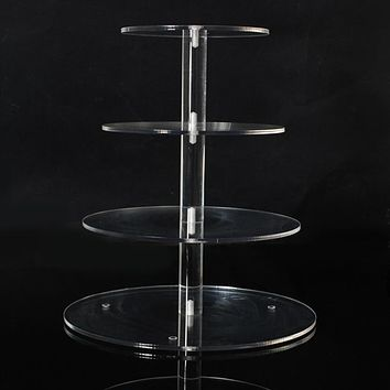 Assemble and Disassemble Round Acrylic 3 & 4 Tier Cupcake Cake Stand For Birthday Wedding Party Cake Shop Home Free Shipping