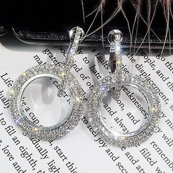 8DESS Fashion Full Rhinestone Zircon Glitter Circle Round Diamond Earrings Silver Gold Rose Gold Stud Earrings