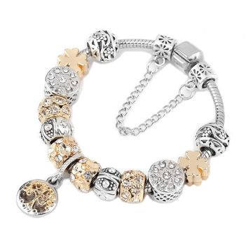 STYLEDOME Vintage Silver Color Charm Bracelet with Tree of life Pendant & Gold Crystal Ball Brand Bracelet