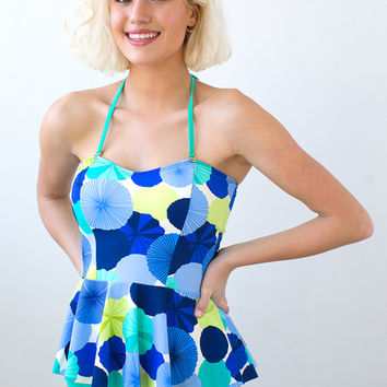 Princess Peplum Umbrellas Tankini Top | Lime Ricki Swimwear