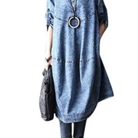 Mordenmiss Women's New Cotton V-Neckline Clothing A-Line Loose Denim Dresses