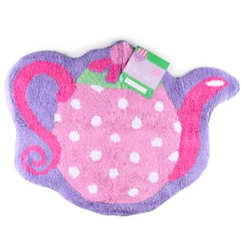 Tea Party Cotton Rug. Soft Tufted Girl's Bathroom Rug. Pink & Purple.