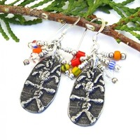 Wild Woman Earrings, Handmade Boho Jewelry African Christmas Beads