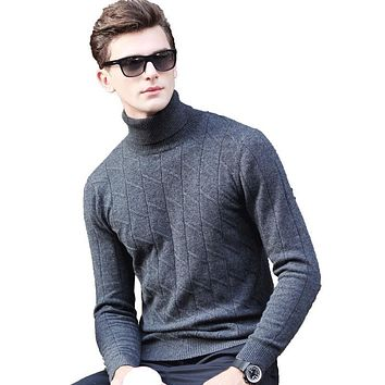 2017 Winter New Autumn European England Gentleman Sweater Casual Pure Cardigan men slim fit High Quality turtleneck Time limited