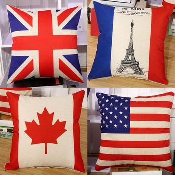 "British Canada America France National Flag Throw Pillow Cover Decorative Massager Pillows Linen Zip DIY Home Decor Gift""18X18''"