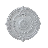 Round Metal Ceiling Medallion | Distressed White Finish | 25-1/4-in