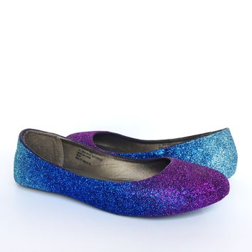 Purple Aqua Blue Glitter Flats, Violet Ombre Ballet Shoes