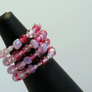 Beaded Wire Adjustable Wrap Ring, Multi-colored, Stacked ring, Statement ring