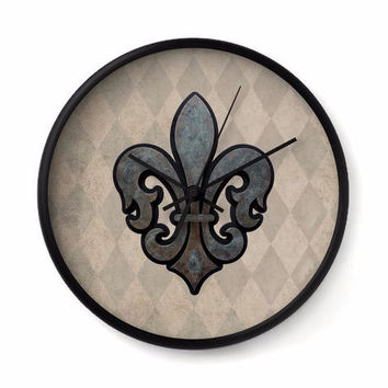 Fleur de Lis Wall Clock with tan and taupe harlequin background