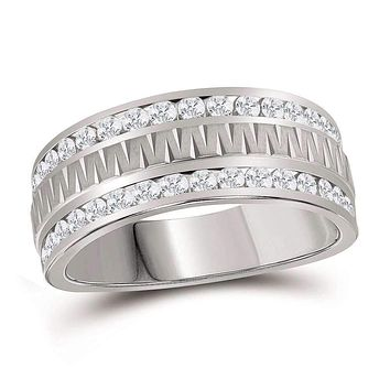 14kt White Gold Men's Round Channel-set Diamond Grecco Textured Double Row Wedding Band Ring 1.00 Cttw - FREE Shipping (US/CAN)