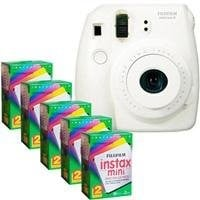 Fujifilm Instax Mini 8 Camera, 62x46mm Picture Size, White - Bundle - with Five TwinPacks of Instax Mini Instant Daylight Film, 20 Exposures (Total 100 Sheets)