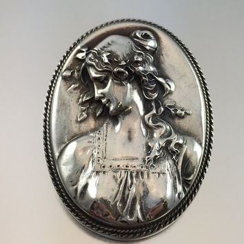 Henryk Winograd Sterling Silver Repousse Cameo Brooch Pendant - Vintage Beautiful Maiden
