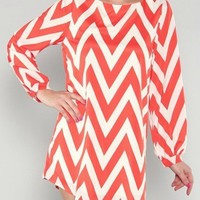 Chevron Shift Dress- Tangerine