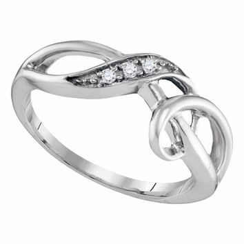 Sterling Silver Womens Round Diamond Twist Fashion Band Ring .03 Cttw