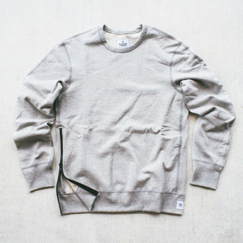 Reigning Champ Knit Heavyweight Crew w/ Side Zip - H.Grey