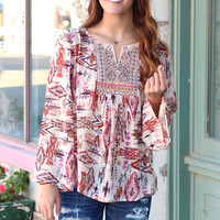 My Tribe Embroidered Blouse {Beige Mix}