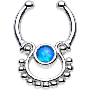 Blue Opal Egyptian Goddess Non-Pierced Clip On Septum Ring | Body Candy Body Jewelry