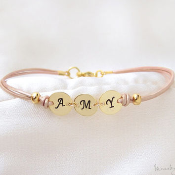 Three Initials Monogram Leather Bracelet - Personalized Initial Bracelet, Custom Initial Gold Discs, Stacking Bracelet, Bridesmaid Gift