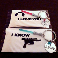 COUPLES GIFT - Set of 2 Keychain or Necklace - Star Wars Fan - I love you - I know - Mini Sword Charm - Anniversary -