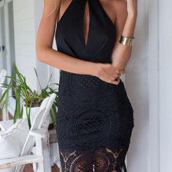 Black Halter With Lace Backless Dress